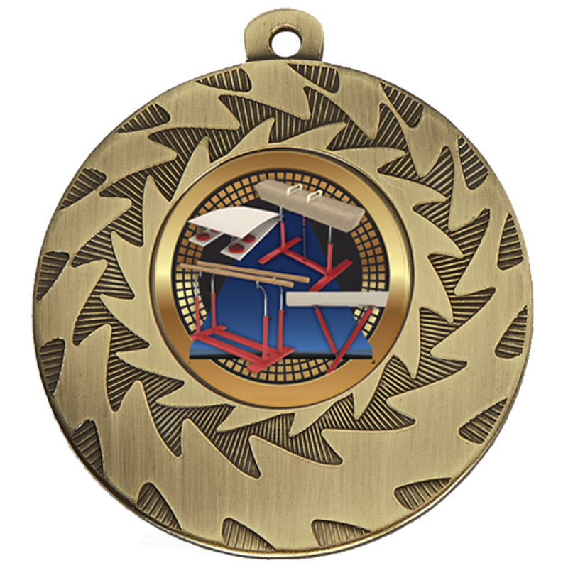 50mm Bronze Horse & Bars Gymnastics Prism Medal