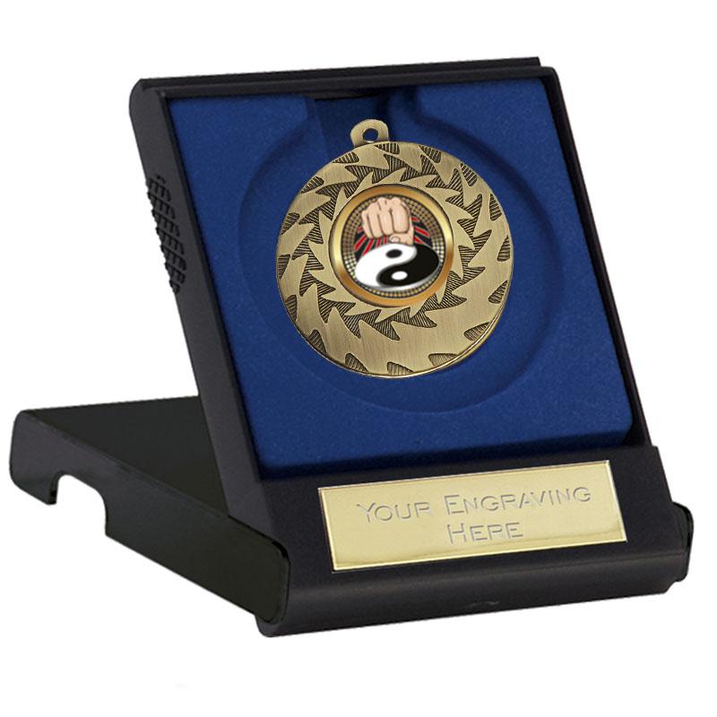 50mm Bronze Yin Yang Fist Martial Arts Prism Cased Medal