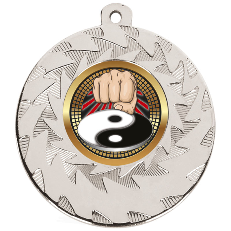 50mm Silver Yin Yang Fist Martial Arts Prism Medal
