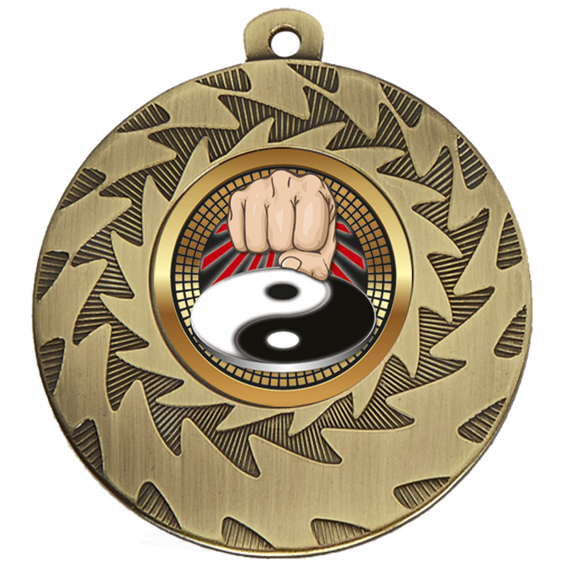 Bronze Yin Yang Fist Martial Arts Prism Medal