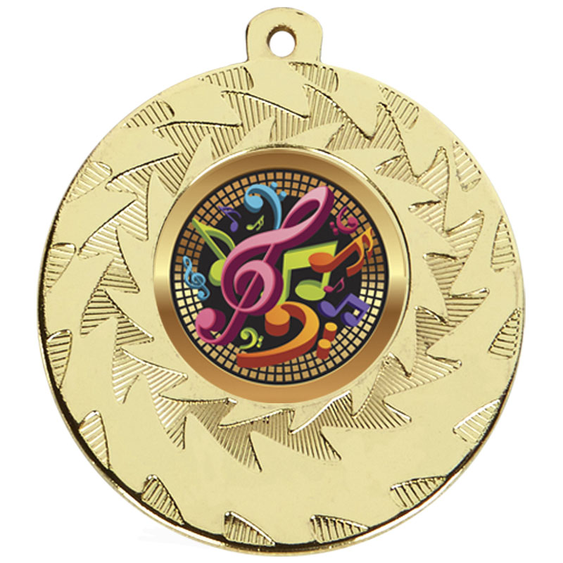 50mm Gold Musical Notes Music Prism Medal