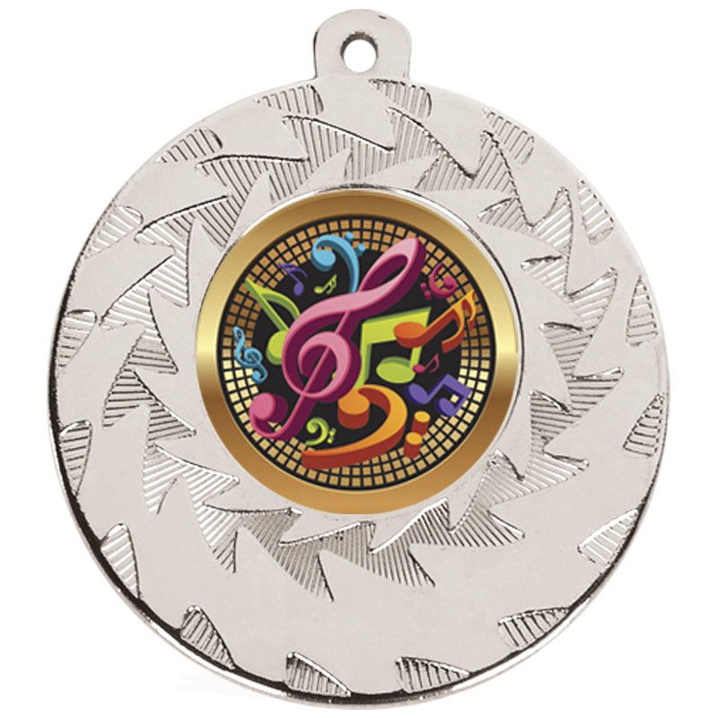 50mm Silver Musical Notes Music Prism Medal