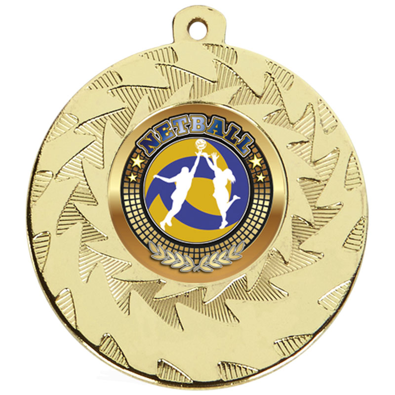 50mm Gold Netball Prism Medal