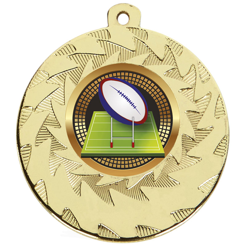 50mm Gold Ball & Goal Rugby Prism Medal