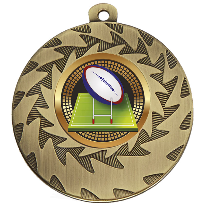 50mm Bronze Ball & Goal Rugby Prism Medal
