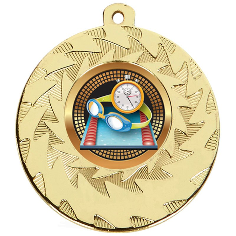 50mm Gold Goggles & Stopclock Swimming Prism Medal