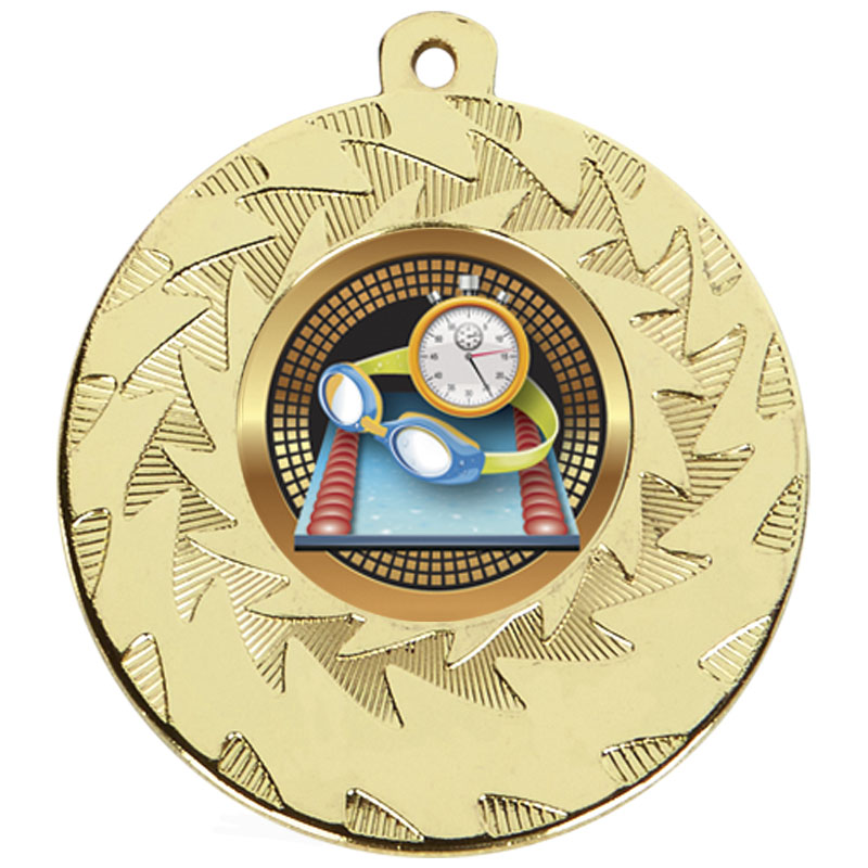 Gold Goggles & Stopclock Swimming Prism Medal