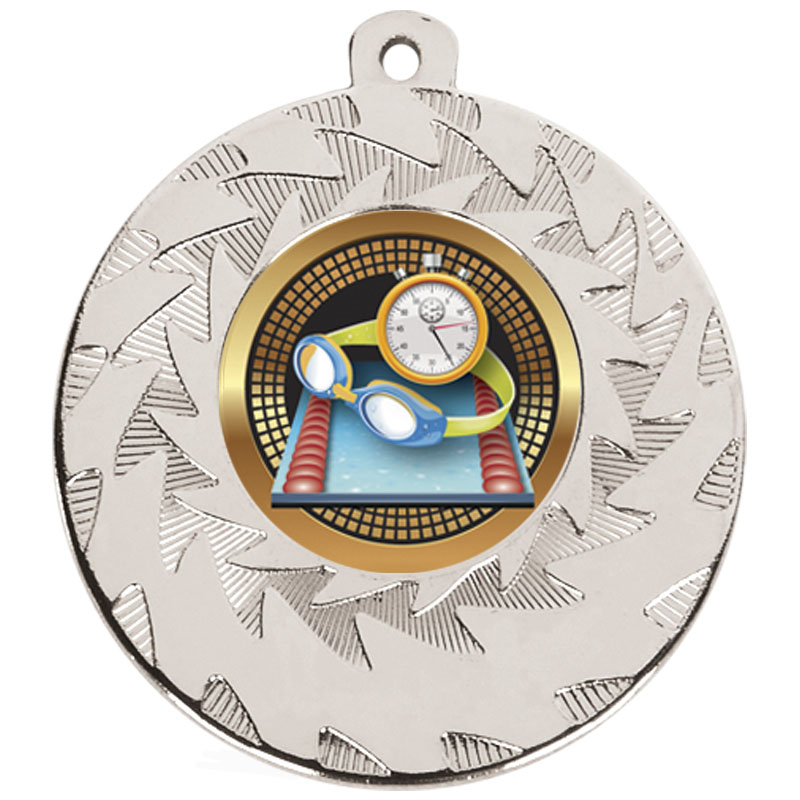 Silver Goggles & Stopclock Swimming Prism Medal