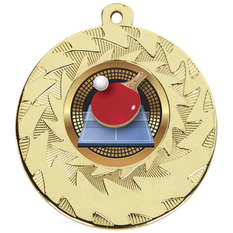 50mm Gold Ball & Bat Table Tennis Prism Medal