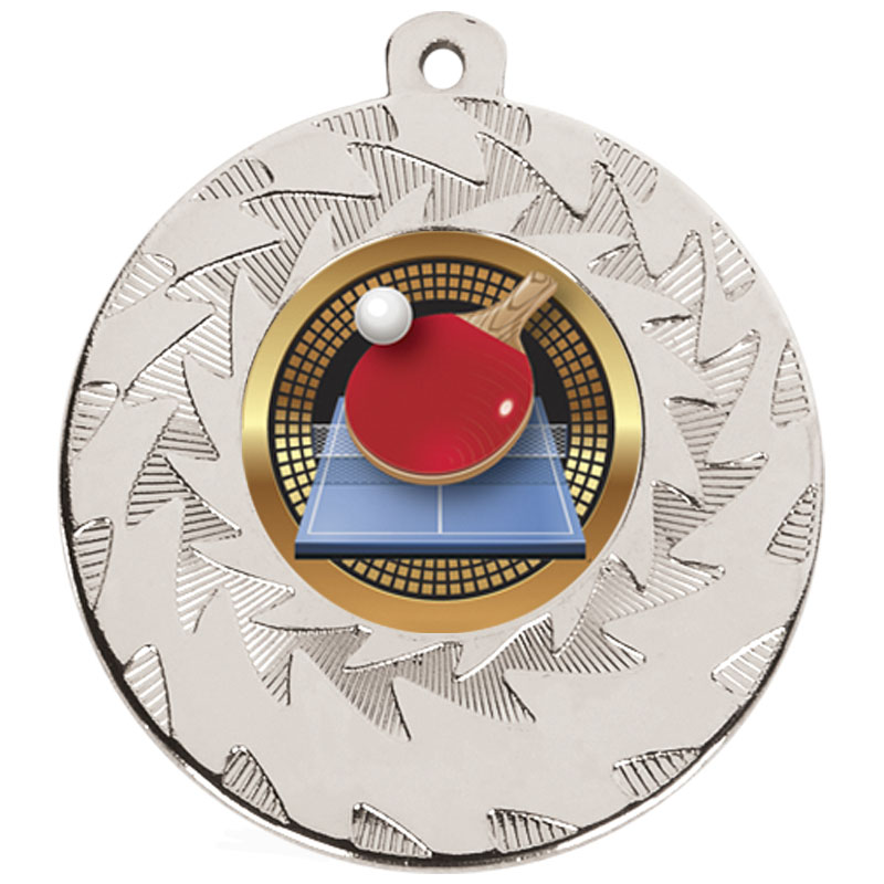 50mm Silver Ball & Bat Table Tennis Prism Medal