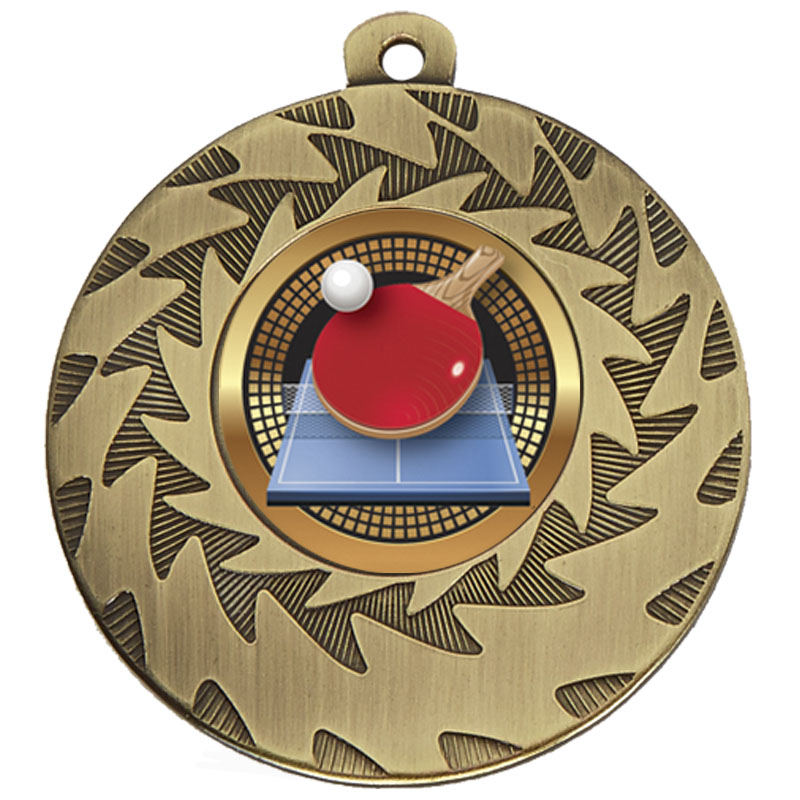 50mm Bronze Ball & Bat Table Tennis Prism Medal