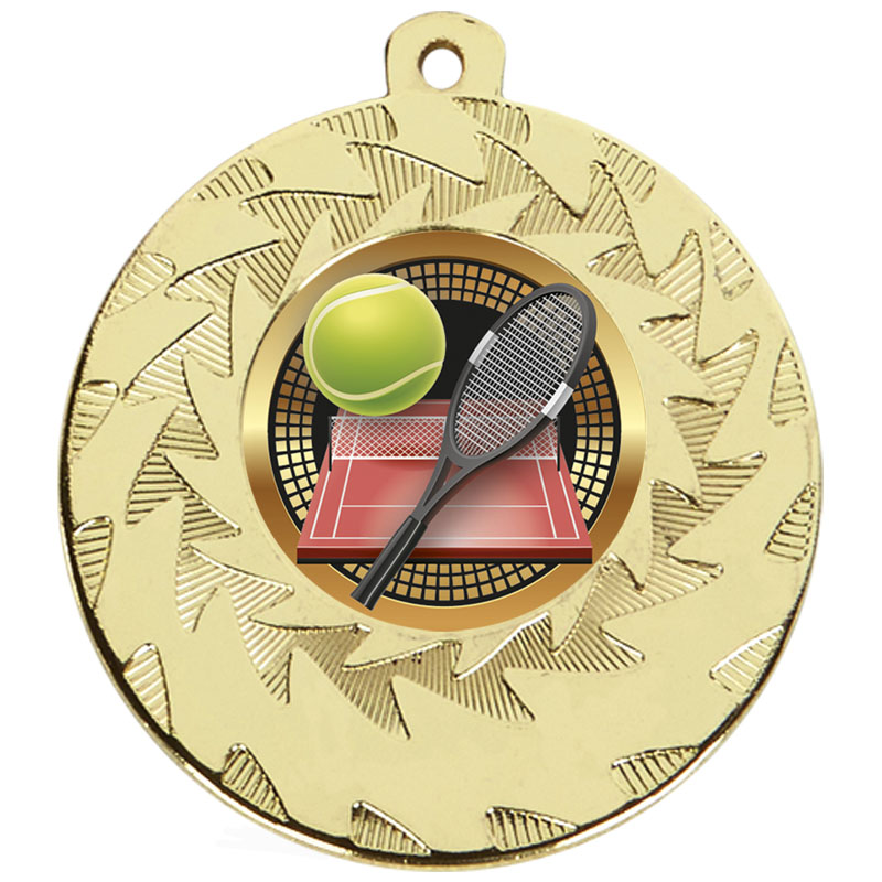 50mm Gold Racket & Ball Tennis Prism Medal