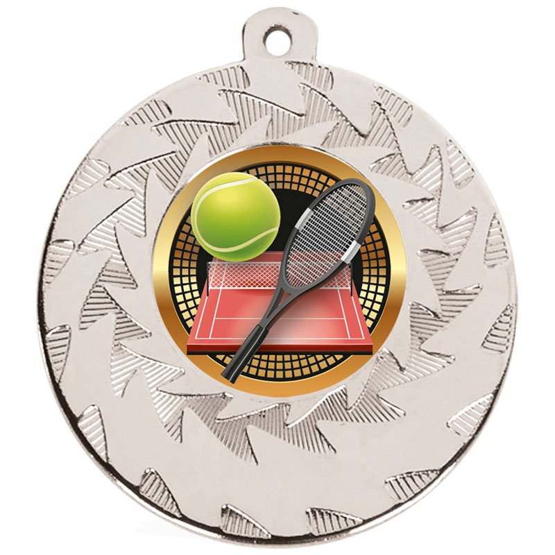 Silver Racket & Ball Tennis Prism Medal