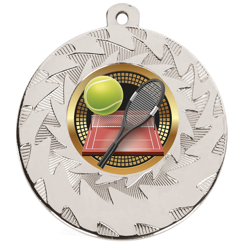 50mm Silver Racket & Ball Tennis Prism Medal