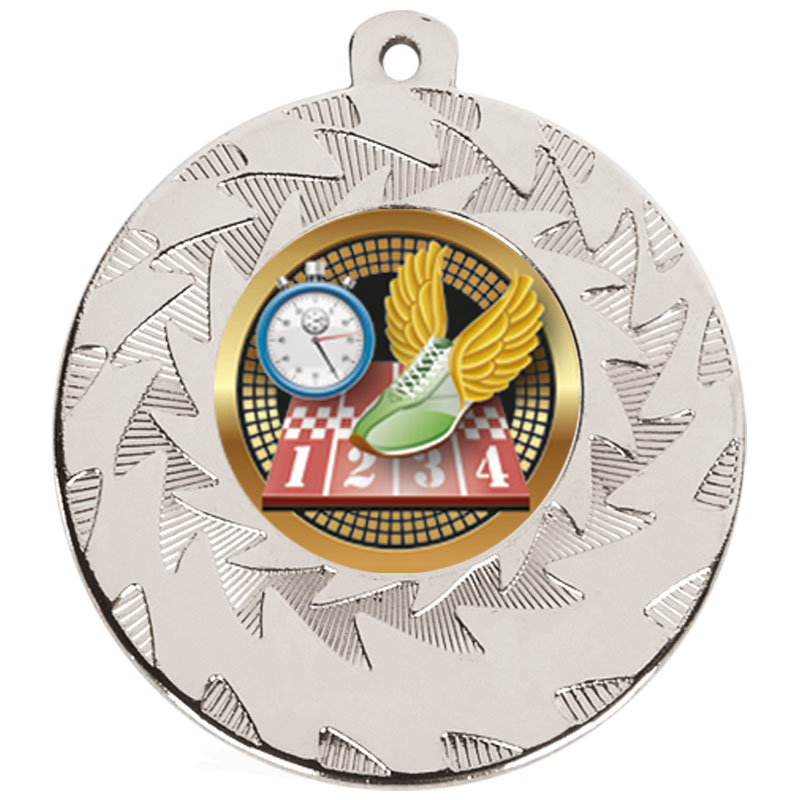 Silver Trainers & Stopclock Track & Field Prism Medal