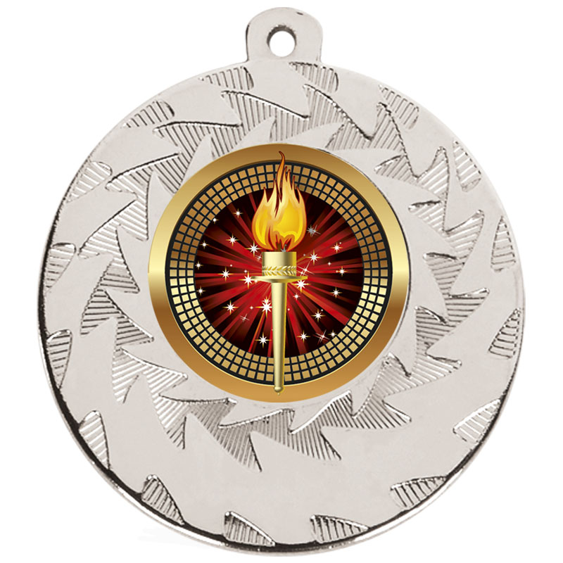 50mm Silver Torch Prism Medal