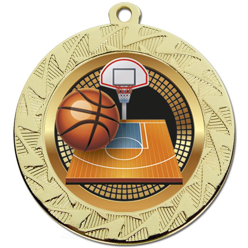 70mm Gold Ball & Net Basketball Prism Medal