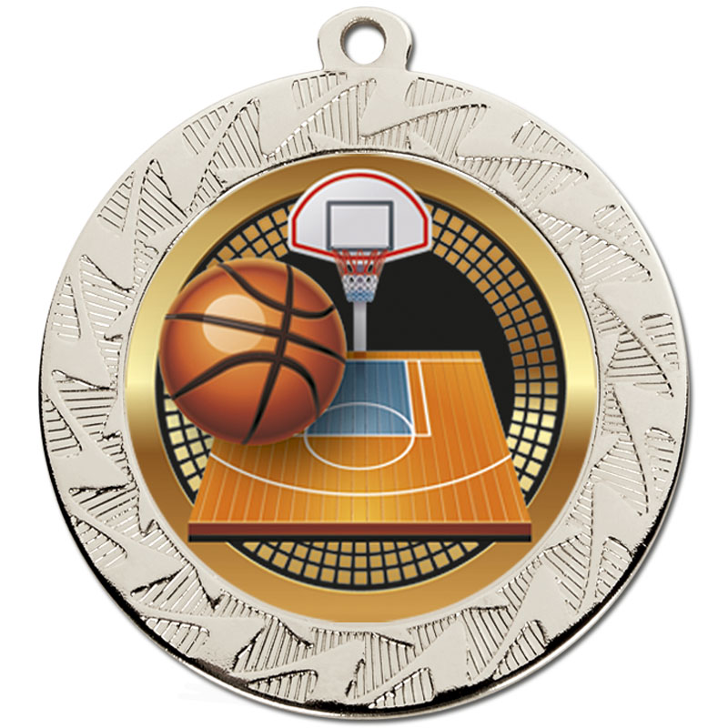 70mm Silver Ball & Net Basketball Prism Medal