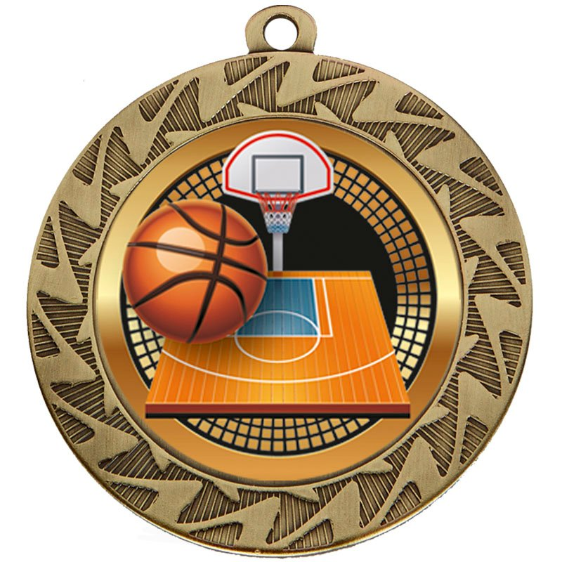 Bronze Ball & Net Basketball Prism Medal