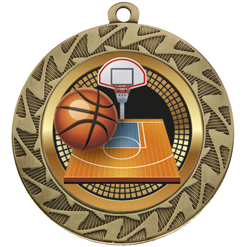 70mm Bronze Ball & Net Basketball Prism Medal