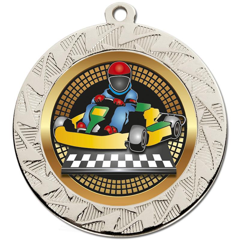 70mm Silver Go Kart Motorsports Prism Medal
