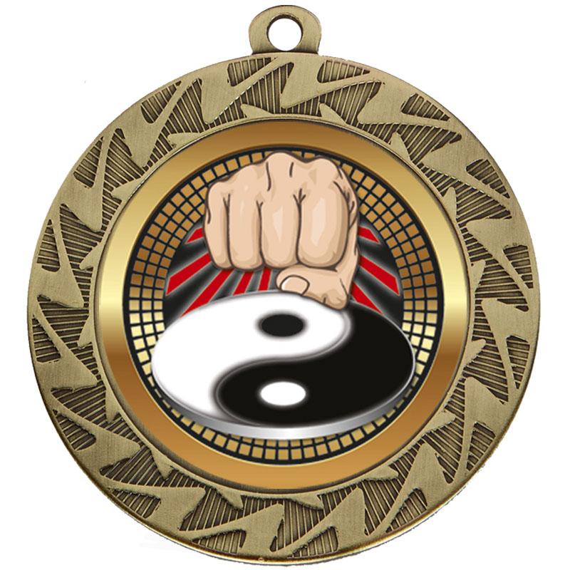 70mm Bronze Yin Yang Fist Martial Arts Prism Cased Medal