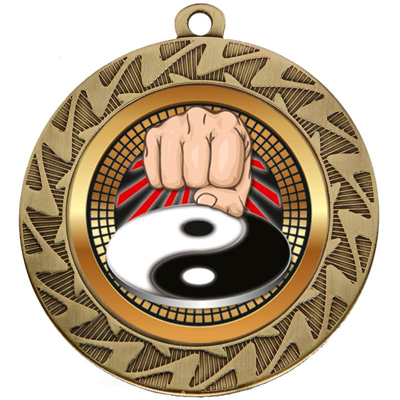 70mm Bronze Yin Yang Fist Martial Arts Prism Medal