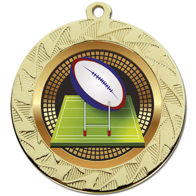 70mm Gold Ball & Pitch Rugby Prism Medal