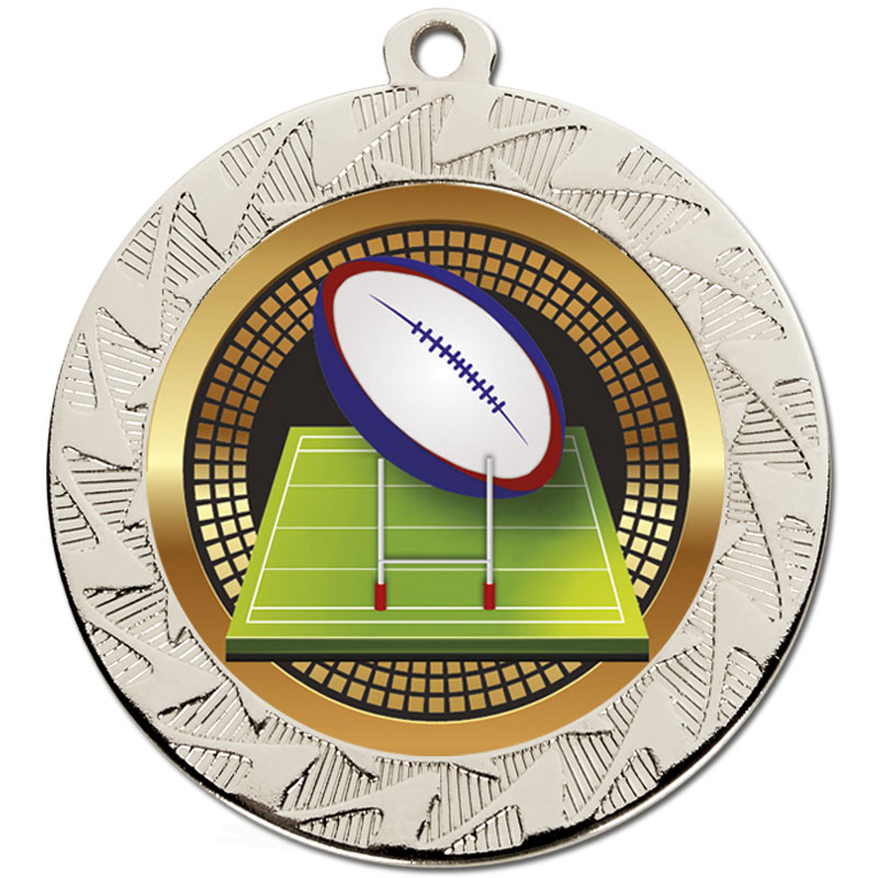 70mm Silver Ball & Pitch Rugby Prism Medal