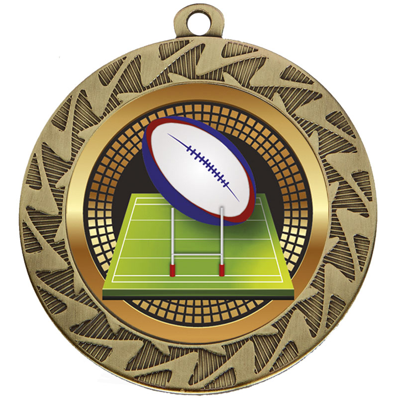 70mm Bronze Ball & Pitch Rugby Prism Medal