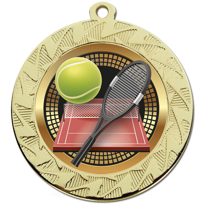 70mm Gold Racket & Ball Tennis Prism Medal