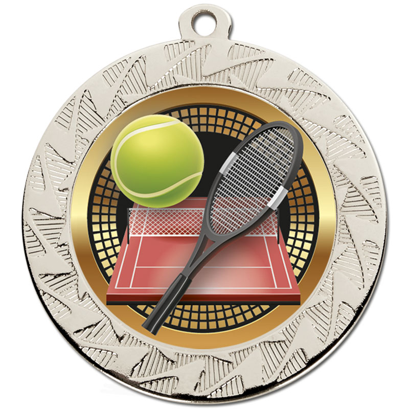 70mm Silver Racket & Ball Tennis Prism Medal