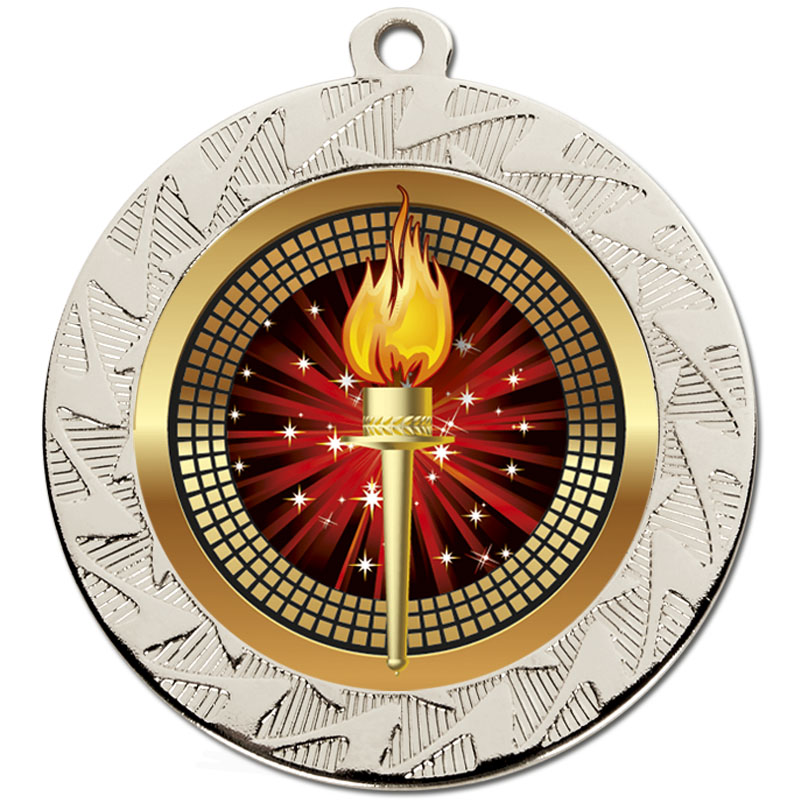 70mm Silver Torch Prism Medal