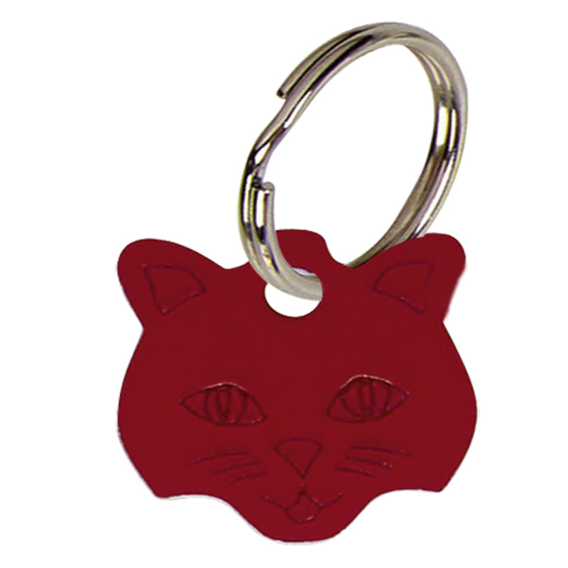 Red Cats Face Pets Companion Pet Tag