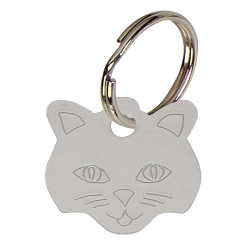 Silver Cats Face Pets Companion Pet Tag