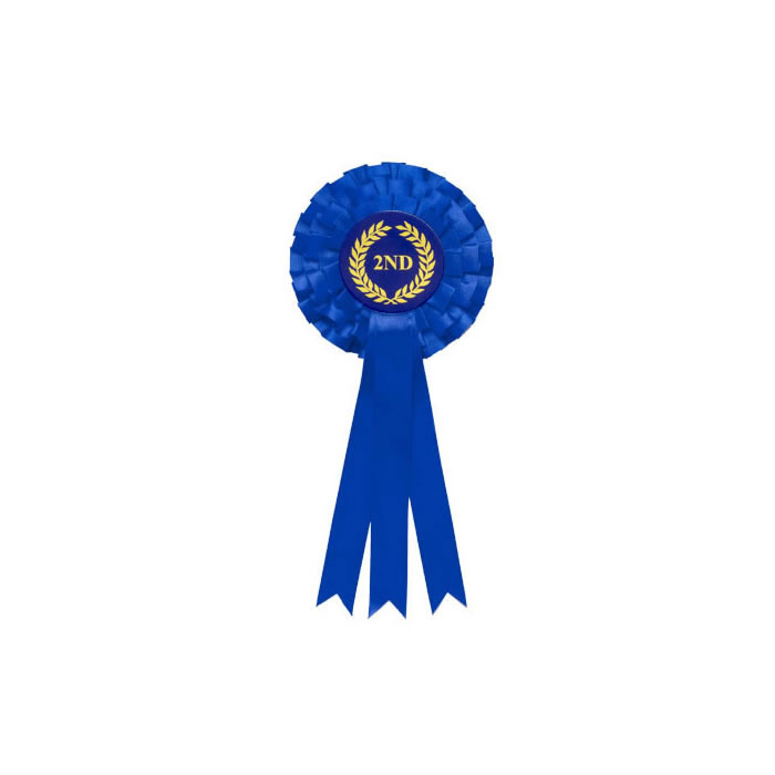 2Nd Tier Blue Triple Ribboned Rosette