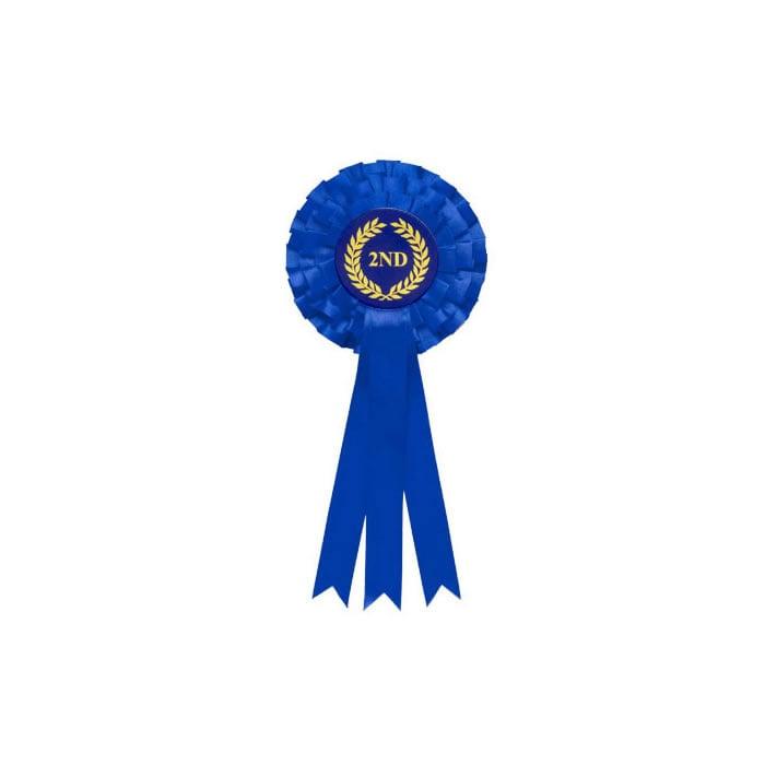 2Nd Tier Blue Triple Ribboned Rosette