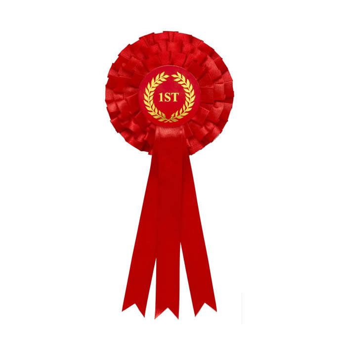 1St Tier Red Triple Ribboned Rosette