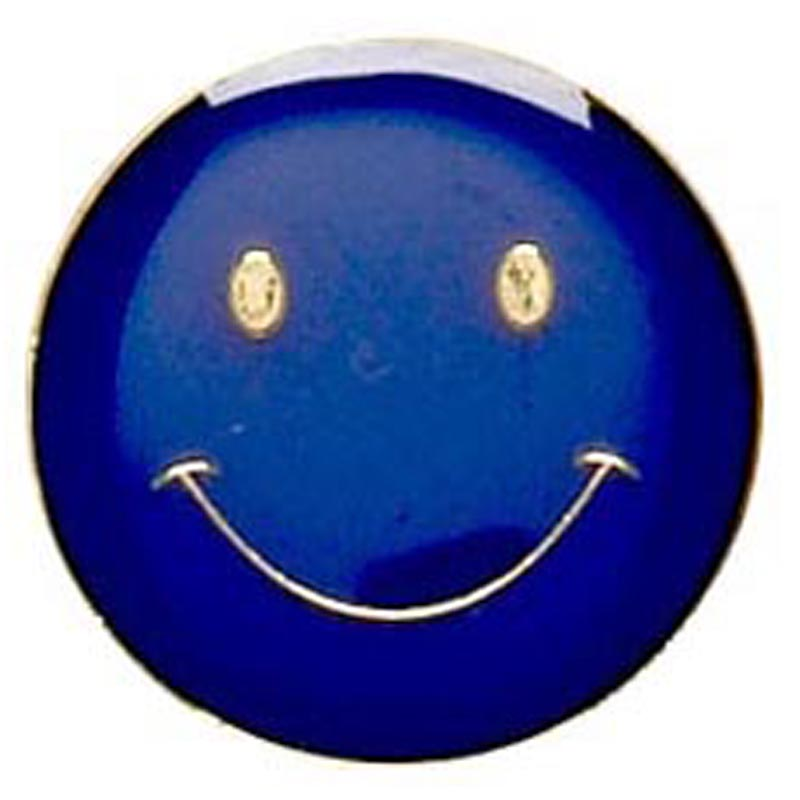 Blue Smiley Face Lapel Badge