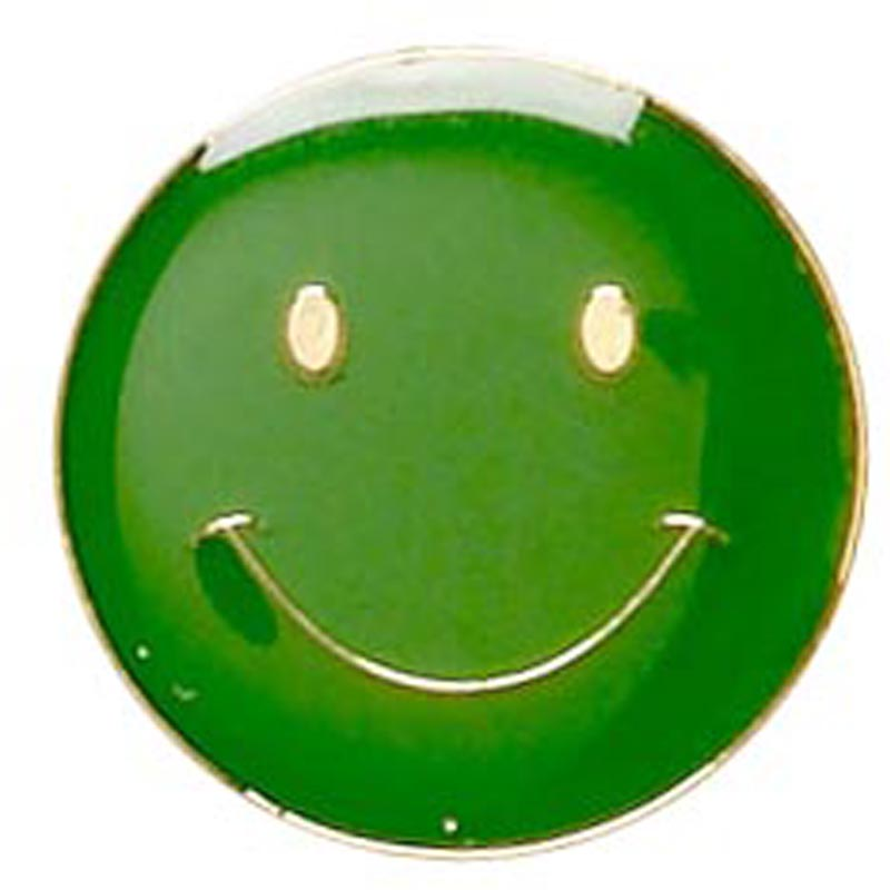 20mm Green Smiley Face Lapel Badge