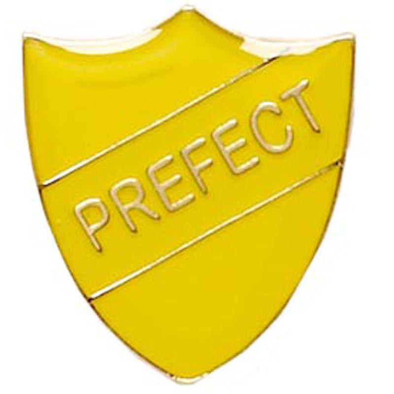 22 x 25mm Yellow Prefect Shield Lapel Badge