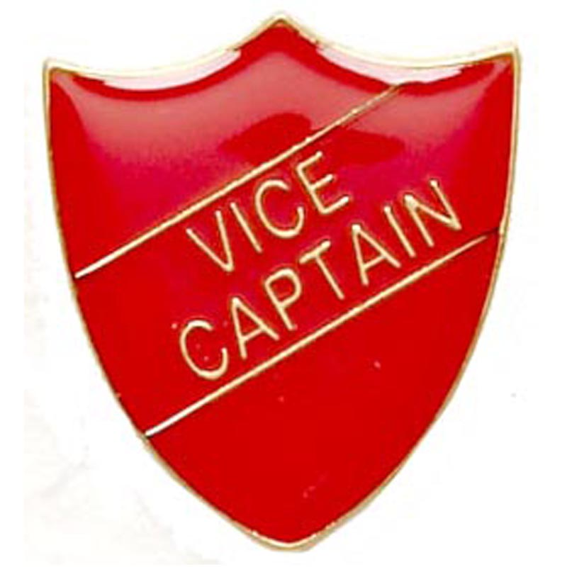 22 x 25mm Red Vice Captain Shield Lapel Badge
