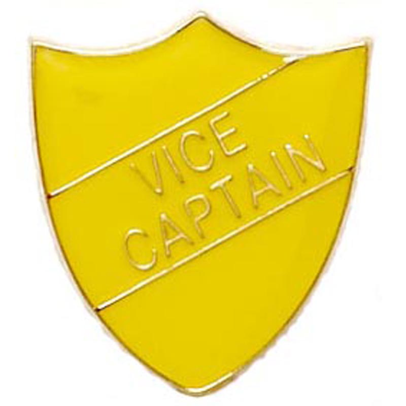 22 x 25mm Yellow Vice Captain Shield Lapel Badge