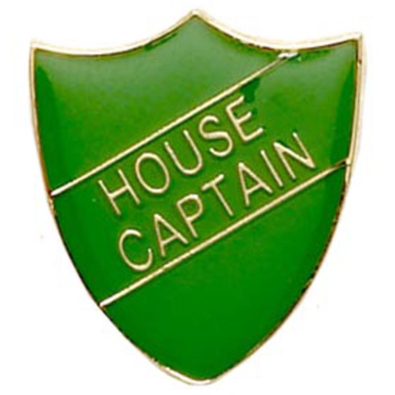22 x 25mm Green House Captain Shield Lapel Badge