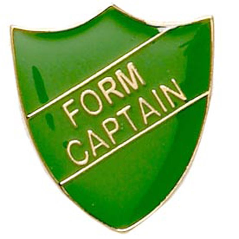 22 x 25mm Green Form Captain Shield Lapel Badge
