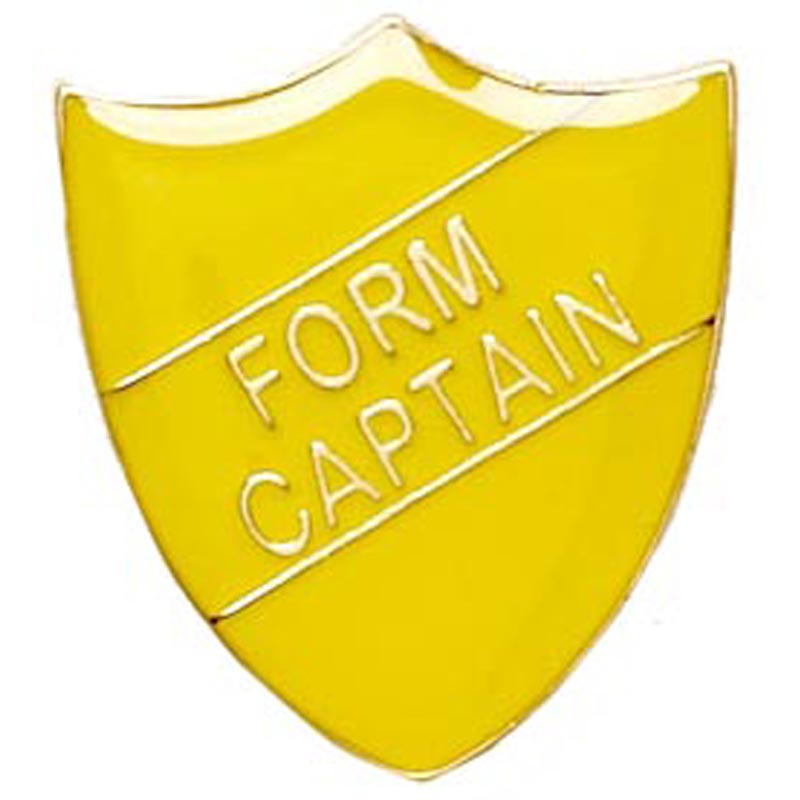 22 x 25mm Yellow Form Captain Shield Lapel Badge