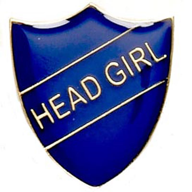 22 x 25mm Blue Head Girl Shield Lapel Badge