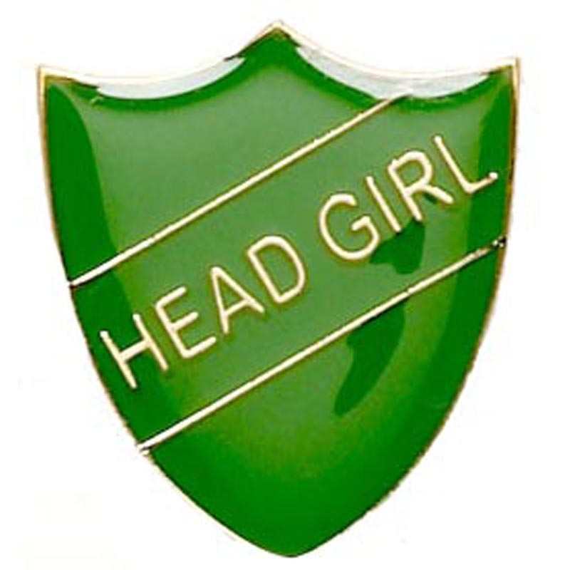 Green Head Girl Shield Lapel Badge