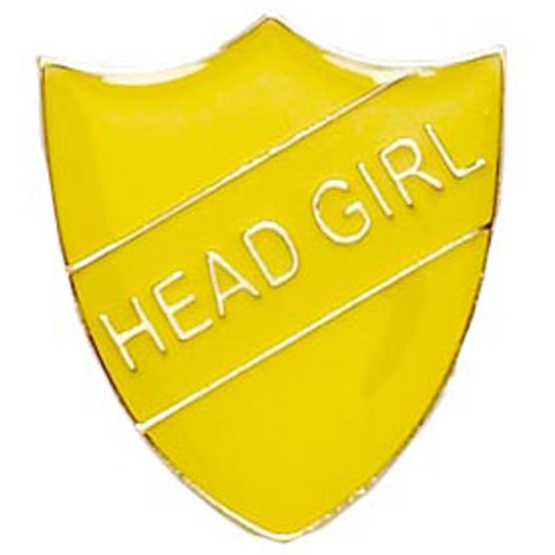 22 x 25mm Yellow Head Girl Shield Lapel Badge