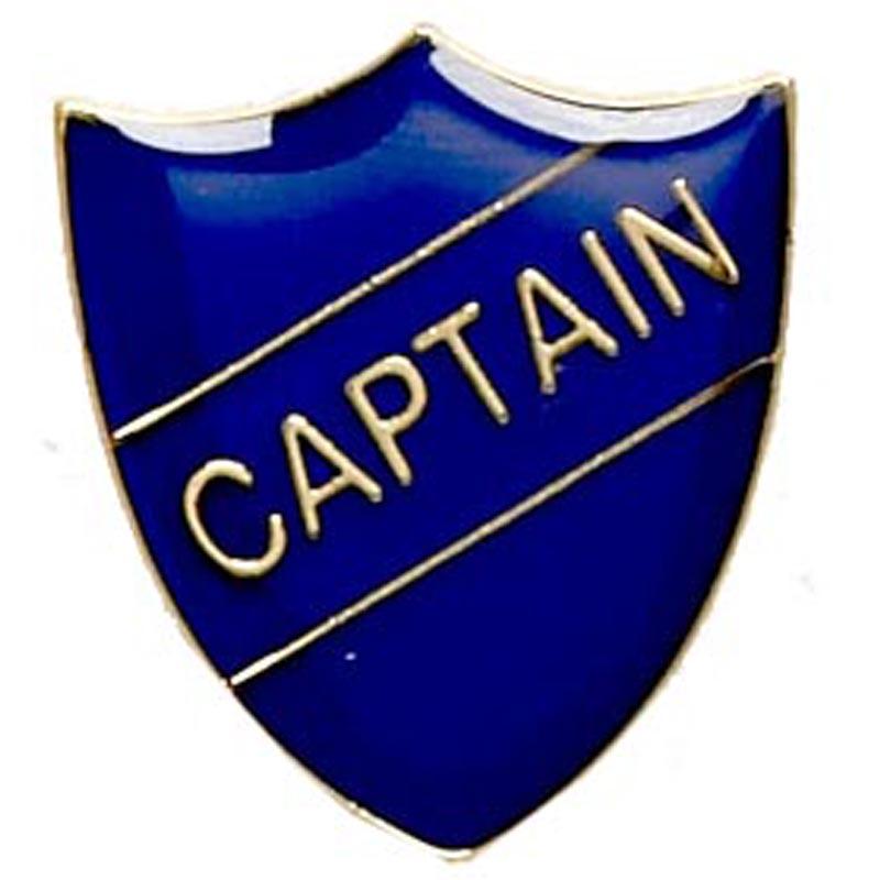 22 x 25mm Blue Captain Shield Lapel Badge